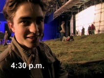 "If this was filming in the winter, then Robert Pattinson is seen here around twilight in ""Meet the Champions."""