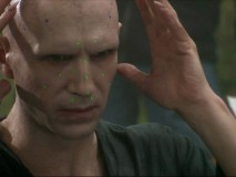 "Ralph Fiennes must wear bright green motion sensors on his face to render ""He Who Must Not Be Named"" noseless in postproduction."