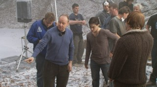 "David Yates directs Daniel Radcliffe on ""The Frozen Lake"" sequence."