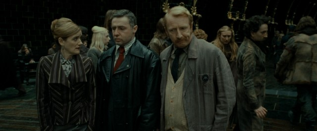 Under the guise of real middle-aged employees (Sophie Thompson, David O'Hara, and Steffan Rhodri), Hermione, Harry, and Ron infiltrate the Ministry of Magic.