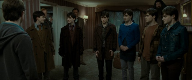 Six out of these seven Harry Potters (Daniel Radcliffe) are his friends under the influence of Polyjuice Potion.