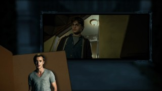 Tom Felton (Draco Malfoy) reads a corresponding passage from Rowling's text as Harry looks around the Black family home.