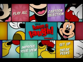 "No, ""Improve Your View"" doesn't assemble the Mickey pieces on the Have a Laugh Volume 1 DVD's main menu. It just takes you to promotional videos that Disney thankfully doesn't label bonus features here."