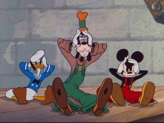 "Donald, Goofy, and Mickey's cartoon-closing headache is one of the few ""Clock Cleaners"" gags surviving the under-3-minute ""Have a Laugh!"" version of the 1937 short."