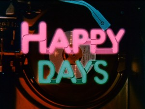 "Pink and blue neon summon the title logo for ""Happy Days."""
