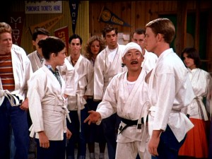 Long before he mentored Daniel-san, Mr. Miyagi (Pat Morita) pitted siblings against one another in a self-defense class at Arnold's.