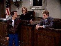 "In ""Two Angry Men"", Fonzie represents himself, questioning Richie in front of the understanding Judge MacBride (June Lockhart)."
