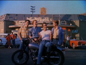 Potsie, Ralph, the Fonz, and Richie pose together in the famous final shot of the opening credits.