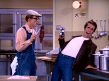 "Incognito as a Scandinavian exchange student janitor, Richie discovers not only meat fraud, but also Fonzie's extreme fear of liver in ""The Muckrakers."""