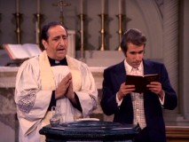 The Fonz sees Baptism as the way to his salvation in a season finale you wouldn't see today. That's Alfred's twin brother Fr. Anthony Delvecchio performing the sacrament.
