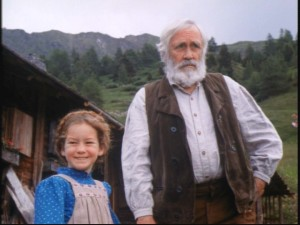 Heidi (Noley Thornton) and Grandfather (Jason Robards) appear to be living on different planes. One's all smiles and the other's a Grumpy Gus!