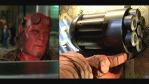 "Hellboy pulls out ""Big Baby"" in split-screen montage that's not so much deleted as it is re-edited."