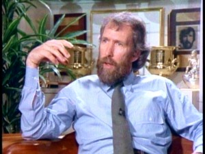 The late, great Jim Henson explains how he ended up in puppetry and children's entertainment, while a younger version of himself looks on from the wall.