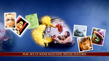 Big Bird's sharing of Doritos with creator Jim Henson looks poignant as filtered on the DVD's animated main menu.
