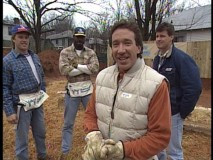 "In ""Eve of Construction"", Tim has NFL athletes on his Habitat for Humanity team, including Hall of Famer John Elway (left)."