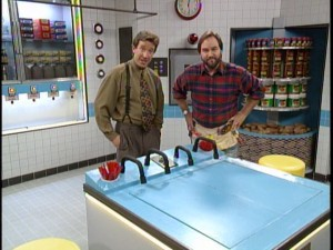 "Tim and Al stand in ""The Man's Kitchen."""