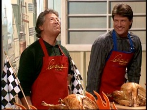 Mario Andretti (with son Michael) can't keep his hands off his turkey in the blooper reel.