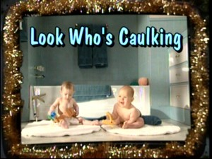 "In one of the season's better gags, Tool Time unveils a series of videos for Christmastime, including this scene from the babies in toolbelts movie ""Look Who's Caulking."""