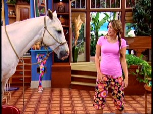 "Miley's childhood horse Blue Jeans comes to California and turns up everywhere from the Stewart kitchen to Miley's dreams in Part 1 of ""Miley Says Goodbye?"" (airing this Sunday)."
