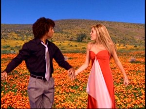 "Johnny Collins (Corbin Bleu) and Hannah Montana's (Miley Cyrus) colorful ""If We Were a Movie"" fantasy comes to a sudden stop."