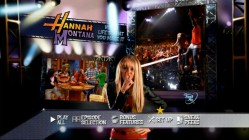 The impressively animated main menu for Hannah Montana: Life's What You Make It demonstrates considerable effort.