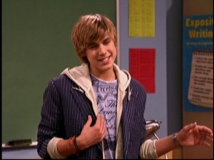 "Jake Ryan (Cody Linley) flashes a smile before saying his catch phrase: ""Dude, I slayed you once. Don't make me slay you again!"""