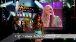Miley Stewart transforms into Hannah Montana throughout the Main Menu.