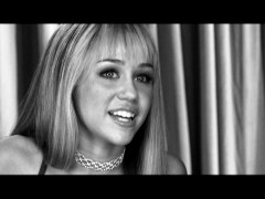 "Miley Cyrus speaks candidly in black and white interview footage comprising ""Hannah Montana Backstage Secrets."""