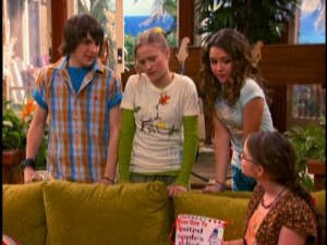 "Oliver (Mitchel Musso), Lilly (Emily Osment), and Miley (Cyrus) have second thoughts about their fundraising efforts in the never-before-seen episode ""Money For Nothing, Guilt for Free."""