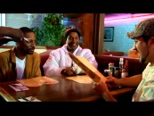 "Tony Rock, Paul Mooney, and Joey Fatone place their orders at Roscoe's House of Chicken 'n Waffles in ""Deep Fried & Covered in Sugar."""