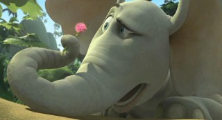 "Horton (voiced by Jim Carrey) eyes the mysterious, talking speck closely in ""Dr. Seuss' Horton Hears a Who!"""