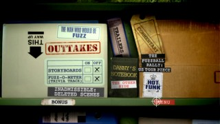The Bonus Features menu is set in the Evidence Room, where one notices far fewer supporting documents than on Region 2's 2-Disc Special Edition.