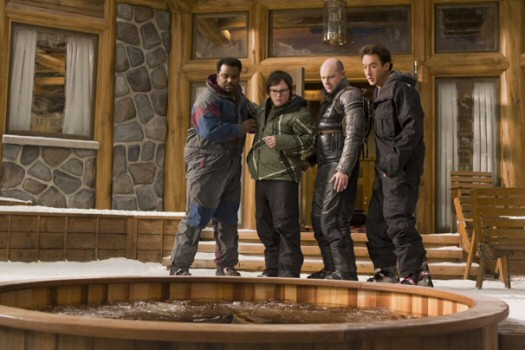 With some trepidation, Nick (Craig Robinson), Jacob (Clark Duke), Lou (Rob Corddry), and Andy (John Cusack) approach the hot tub time machine.