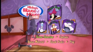 "The Main Menu for ""Mickey's House of Villains."""