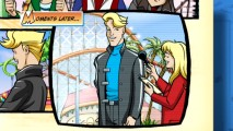 "Tripp Zoome gives an interview for television news reporter intern Melissa in the animated graphic novel ""Tripp Zoome: Off the Rails."""
