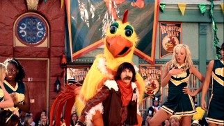 The Brewster High School community gets a shock when Cleatus' (Mitchel Musso) fake mustache falls off during a parade, revealing someone else to be inside the Chicken costume.