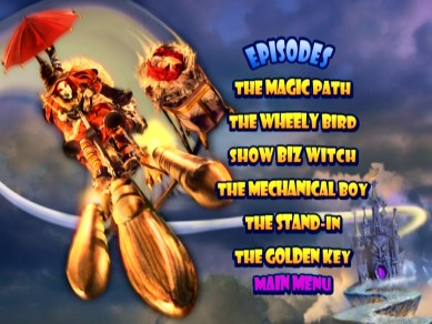The rear cover image of Witchiepoo and Orson Vulture flying in the Vroom Boom adorns the static episode and extra menus.