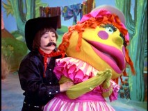 Jimmy sports a mustache for his part in a movie starring the great Shirley Pufnstuf.
