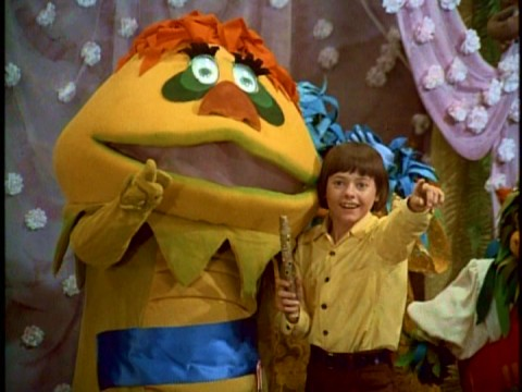 "Jimmy (""See you next week!"") and H.R. Pufnstuf (""I sure hope so!"") say goodbye in one of two different episode sign-offs."