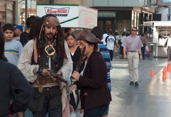 Is that the real Captain Jack Sparrow or merely some guy in front of Krispy Kreme? In Hollywood, the correct answer is usually pretty obvious.