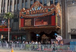 The historic El Capitan Theatre's marquee proclaims the day's featured lineup.