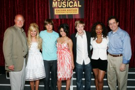 "BVHE president Bob Chapek appears with the cast of ""High School Musical."""