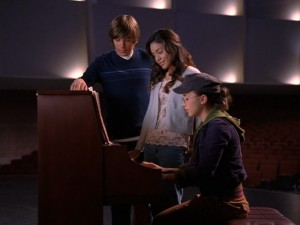 Troy (Zac Efron) and Gabriella (Vanessa Hudgens) try a duet for the second time.