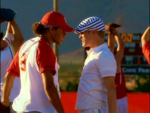 Chad (Corbin Bleu) and Ryan (Lucas Grabeel) get up in each other's grills and share a form of chemistry not usually found in Disney films.