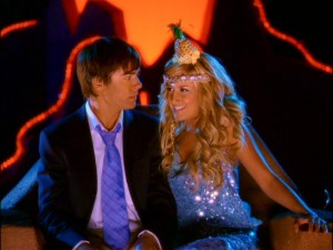 In this new-for-DVD scene, Sharpay (Ashley Tisdale) flirts with an alarmed Troy as she performs her talent show entry.