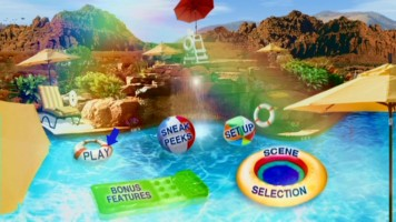 The High School Musical 2 DVD main menu features a mildly-animated vacated pool under rainbow lighting.