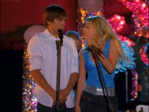 "Troy (Zac Efron) finds Sharpay (Ashley Tisdale) replacing Gabriella as karaoke partner in the loud, flashy, messy ""High School Musical 2."""