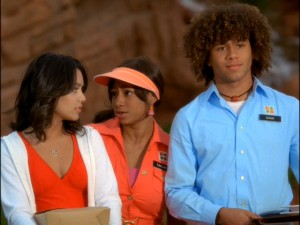 Gabriella (Vanessa Anne Hudgens), Taylor (Monique Coleman), and Chad (Corbin Bleu) bond in disapproval of Sharpay's scheming.