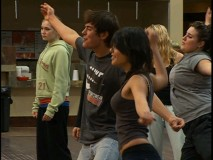 "The disc's ""Rehearsal Cam"" finds Zac Efron, Vanessa Ann Hudgens, and Kaycee Stroh practicing their moves."