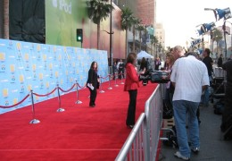 The red carpet is seen in the calm before the storm of celebrity guests making their entrances.